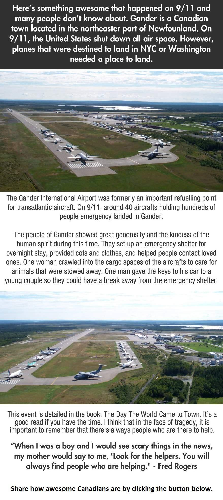many people don't know this actually happened, september 11th 2001, 911, canadian generosity