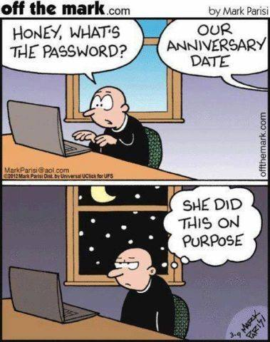 honey what's the password?, our anniversary date, she did this on purpose, comic, married couples, joke