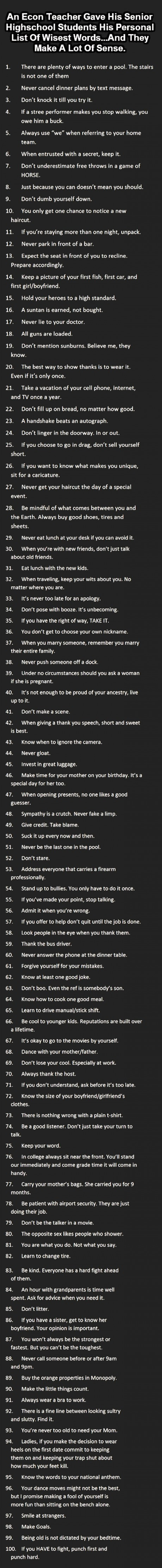 life tips from a high school teacher to his senior students, 100 ways to life