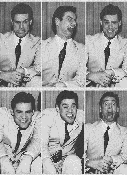 jim carey poses for some photos, black and white
