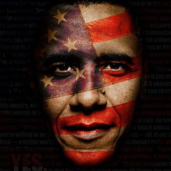 american flag faced obama, photoshop
