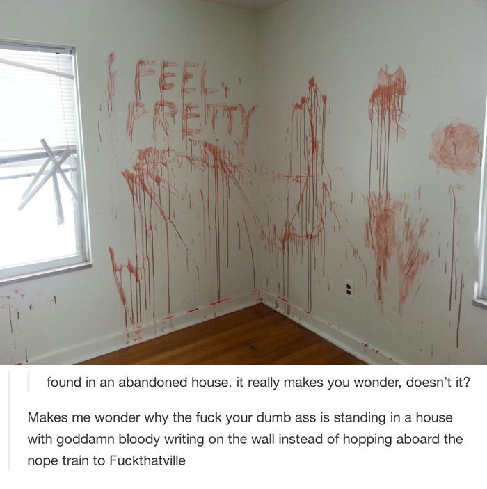 i feel pretty, writing on the wall with blood