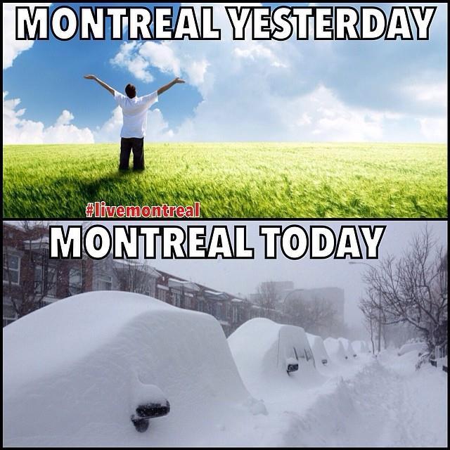 montreal yesterday, montreal today, snow storm