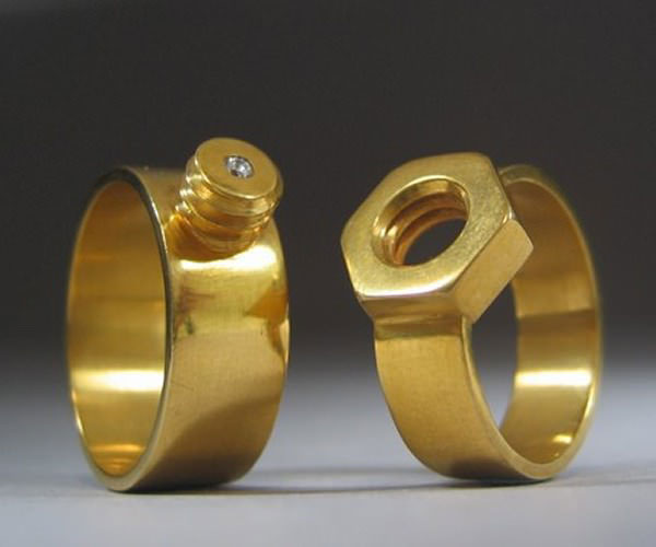 engineer wedding rings, male and female screw socket