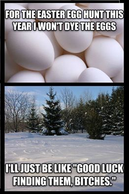 for the easter egg hunt this year i won't dye the eggs, good luck finding them bitches, snow in spring