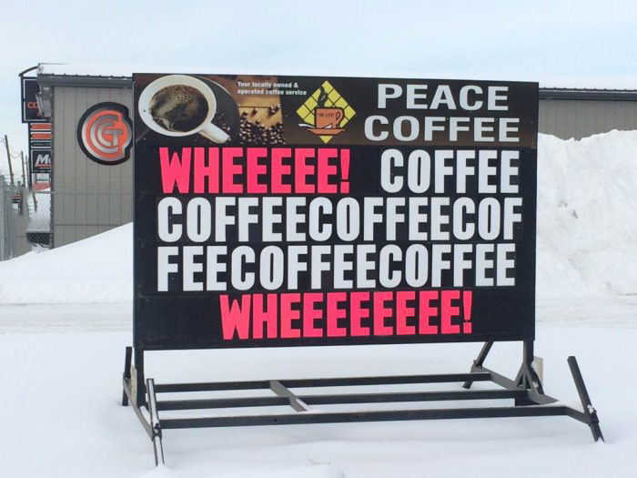 peace coffee sign writer had a little bit too much coffee