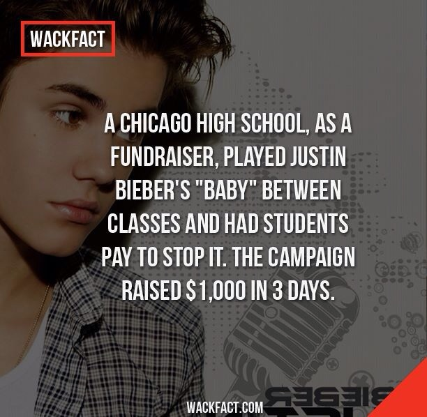a chicago high school played justin bieber's baby between classes and had students pay to stop it as a fundraiser, the campaign raised 1000$ in 3 days