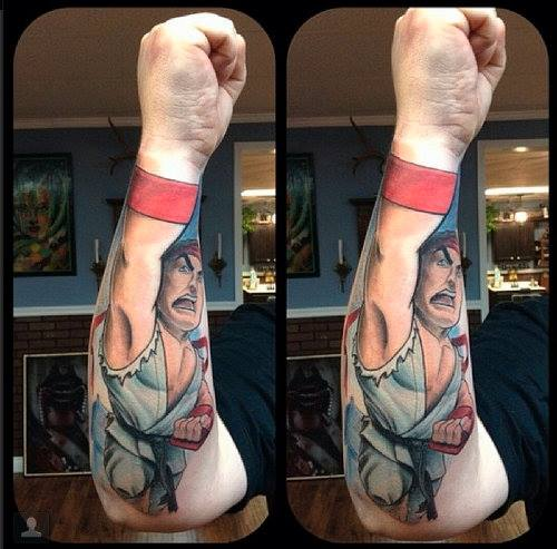 best tattoo ever, ryu from street fighter, perspective