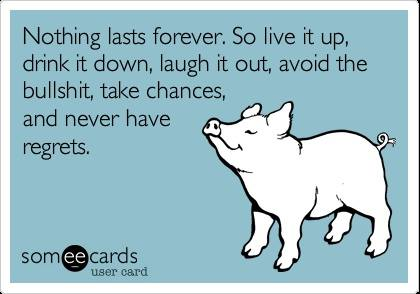nothing lasts forever so live it up drink it down laugh it out avoid the bullshit take chances and never have regrets, ecard
