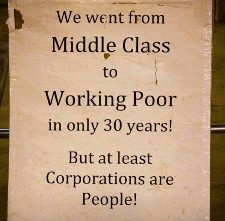 we went from middle class to working poor in only 30 years but at least corporations are people
