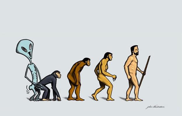 evolution, alien and monkey equals man