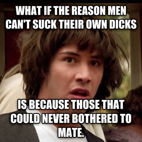 what if the reason men can't suck their own dicks is because those that could never bothered to mate, conspiracy keanu meme