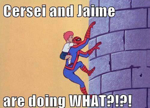 cersei and jaime are doing what?, game of thrones, spiderman