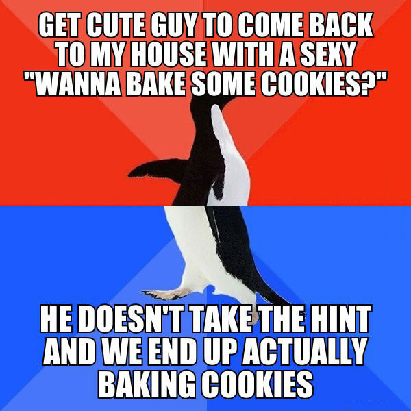 "get cute guy to come back to my house with a sexy ""wanna bake some cookies?"", he doesn't take the hint and we end up actually baking cookies, socially awkward penguin, meme"