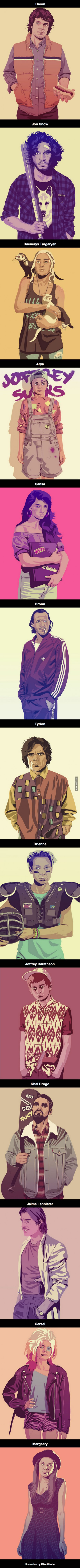 game of thrones characters reimagined in the 1980s and 1990s styles, amazing art