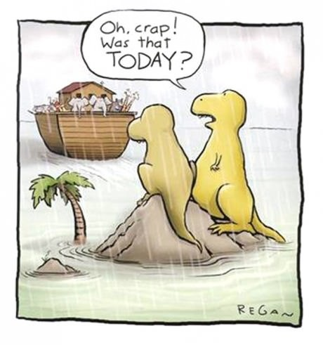 oh crap that way today?, noah's ark, dinosaurs