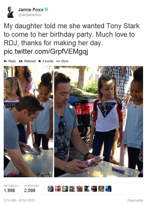 my daughter told me she wanted tony stark to come to her birthday party, robert downey junior is awesome