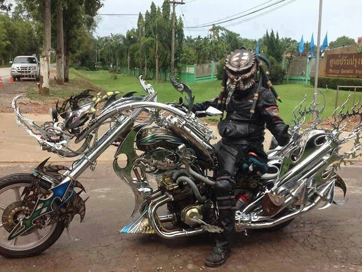 awesome motorcycle and predator helmet