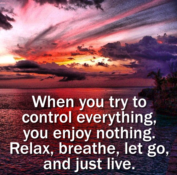 when you try to control everything you enjoy nothing, relax breathe let go and just live, life