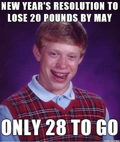 new years resolution to lose 20 pounds, only 28 to go, bad luck brian, meme