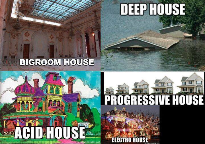 various types of house, bigroom, deep, acid, progressive, electro