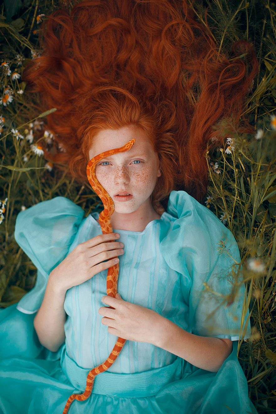 photographer takes magical photos with real animals, red heads in the wild