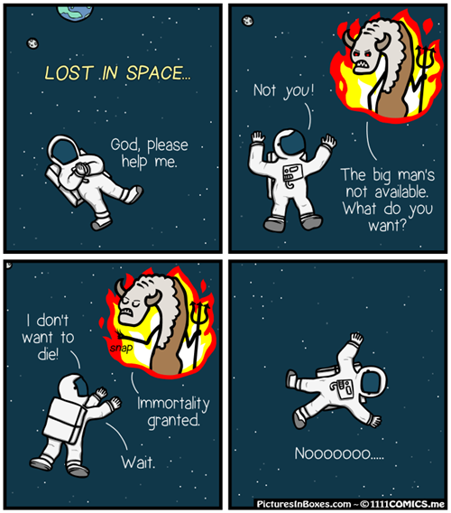 immortality granted to stranded space man, comic, troll