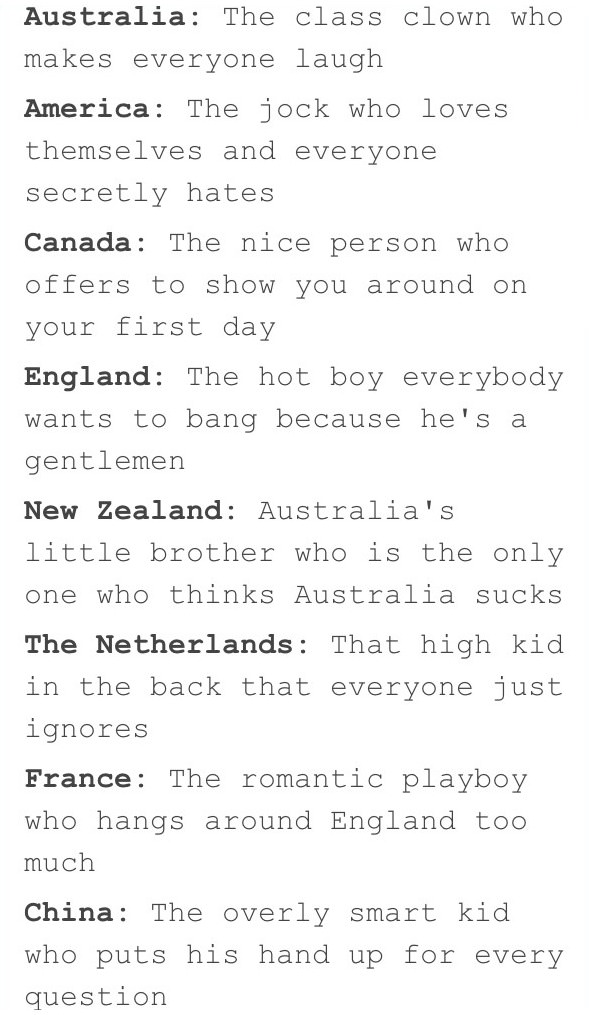 your high school class if countries were students