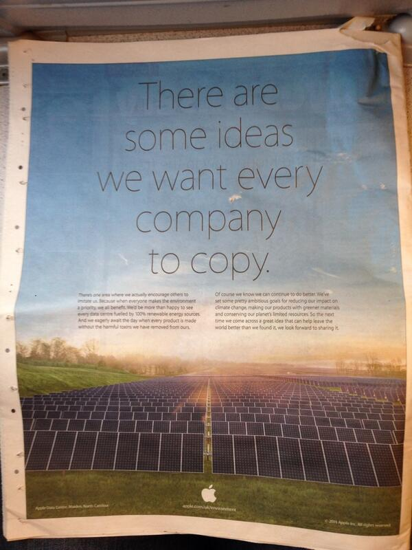 there are some ideas we want every company to copy, apple trolling samsung in newspaper ad