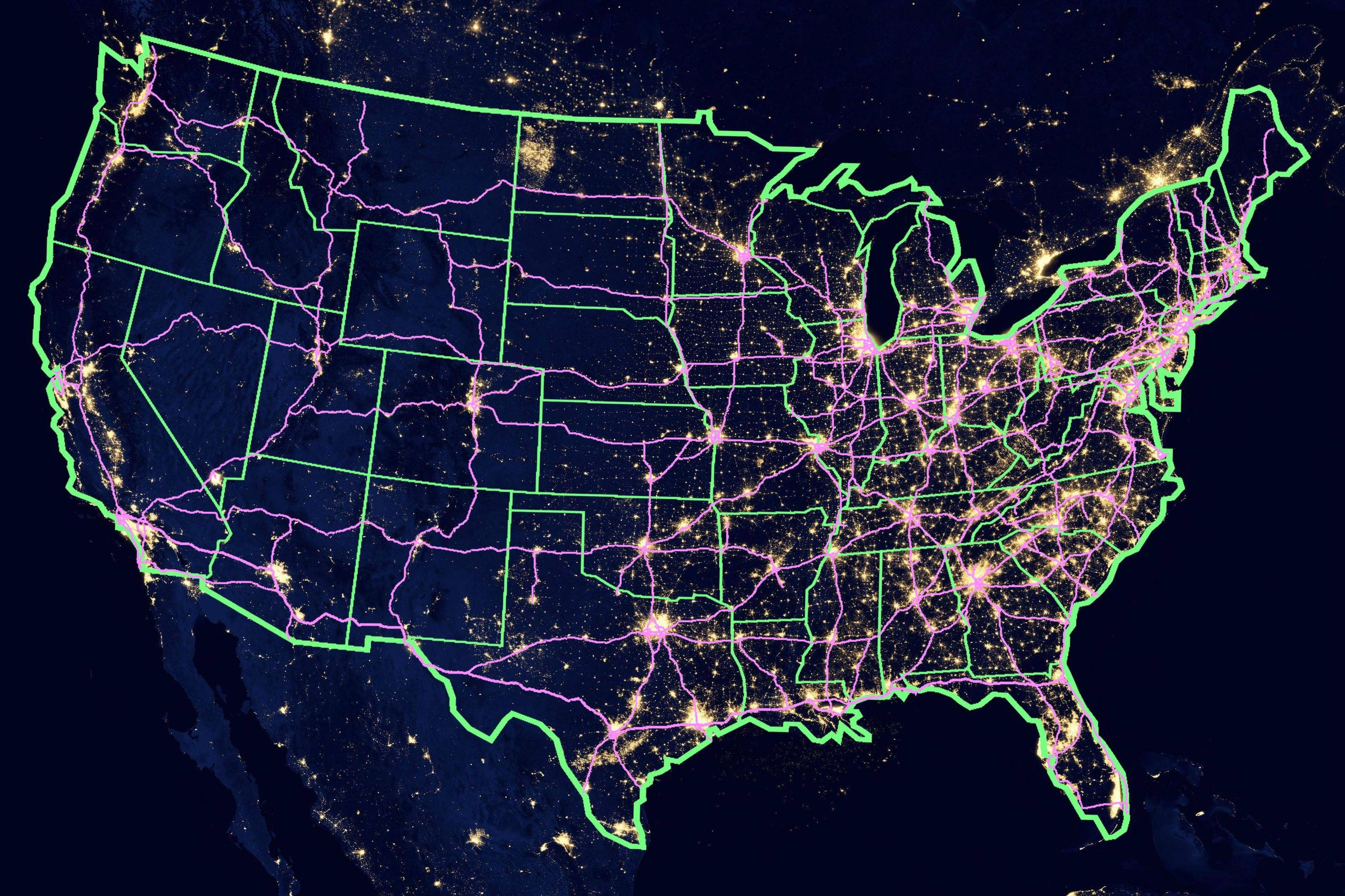 high resolution satellite photo of lights in north america, here is a us map showing the constellation of city lights and highways