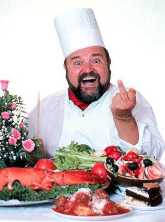 dom deluise giving the finger over food