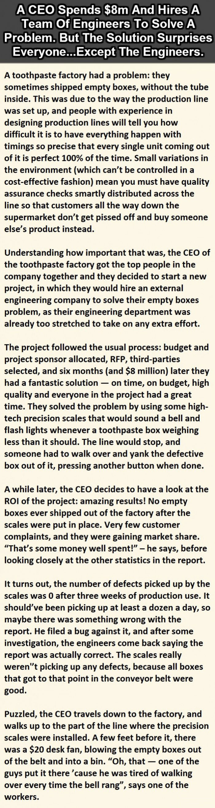 a ceo spends $8m and hires a team of engineers to solve a problem but the solution surprises everyone, story