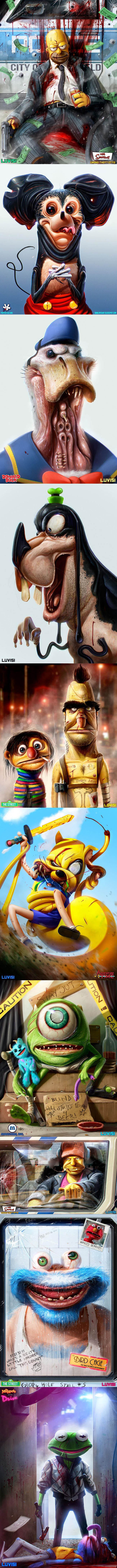 creepy real life cartoon characters, fan art, wtf, simpsons, homer, micky mouse