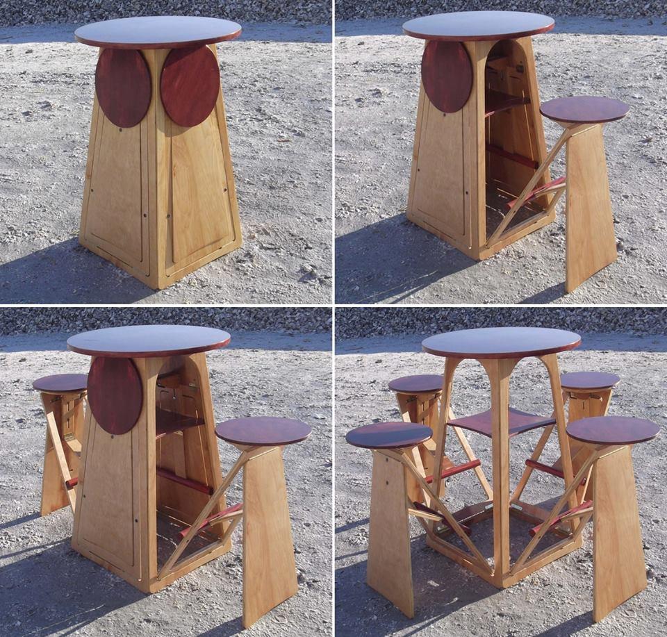 transformer round bar table has four hidden stools