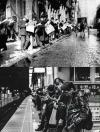 nothing has changed, people waiting for public transportation then and now, reading the news