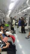 giant fish costume in subway, public transportation