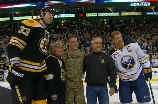 zdeno chara poses with military family
