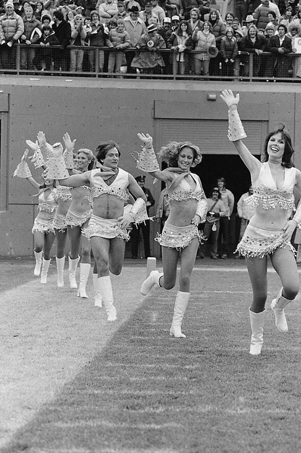 1980 - robin williams with cheerleaders, some things never change with the times