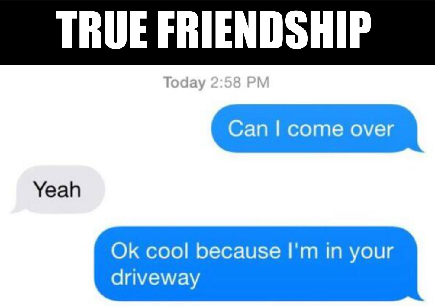 true friendship, can i come over?, yeah, ok cool because i'm in your driveway