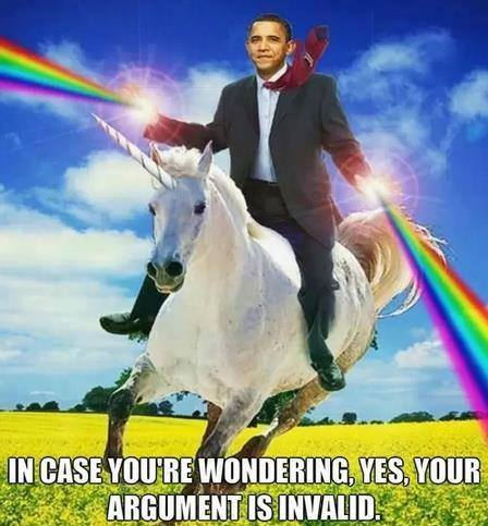 in case you are wondering, yes your argument is invalid, obama on unicorn shooting rainbows from his hands