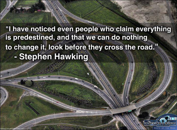 i have noticed that even people who claim everything is predestined, and that we can do nothing to change it, look before they cross the road, stephen hawking, quote
