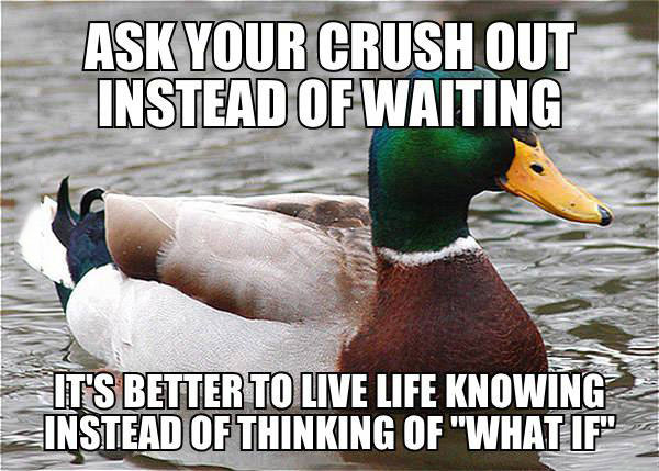 ask your crush out instead of waiting, it's better to live life knowing instead of thinking of what if, actual advice mallard, meme