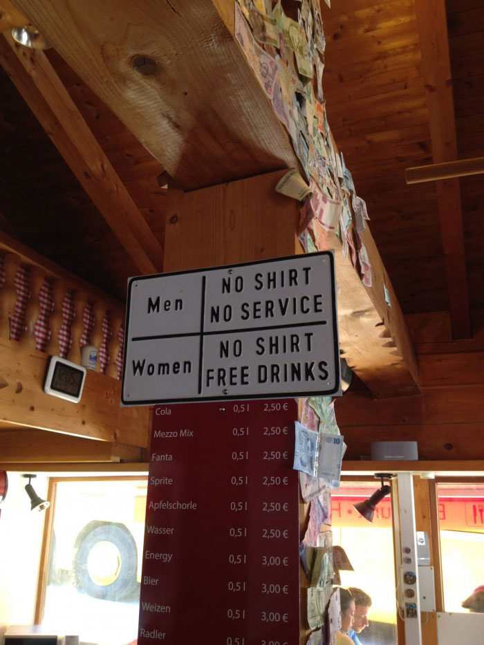 men no shirt no service, women no shirt free drinks, sign, lol, bar