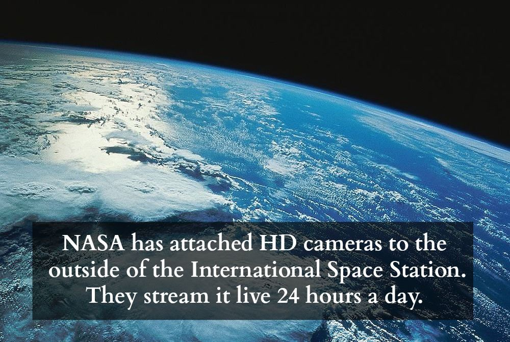 nasa has attached hd cameras to the outside of the international space station, they stream it live 24 hours a day