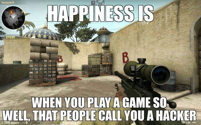happiness is when you play a game so well that people call you a hacker, meme, counter strike