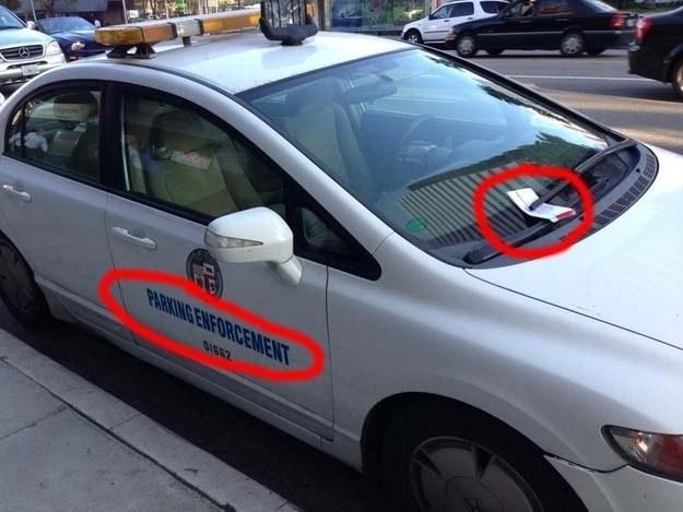parking enforcement officer gets a parking ticket, fail