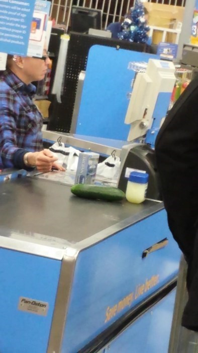 that awkward moment when you check out from a grocery stores with condoms a cucumber and vaseline