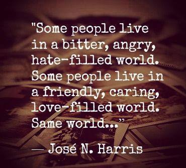 some people live in a bitter angry hate filled world, some people live in a friendly caring love filled world, same world, jose n harris, quote, life