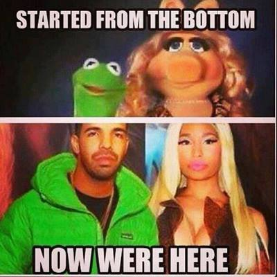 started from the bottom now we're here, drake, kermit the frog and miss piggy