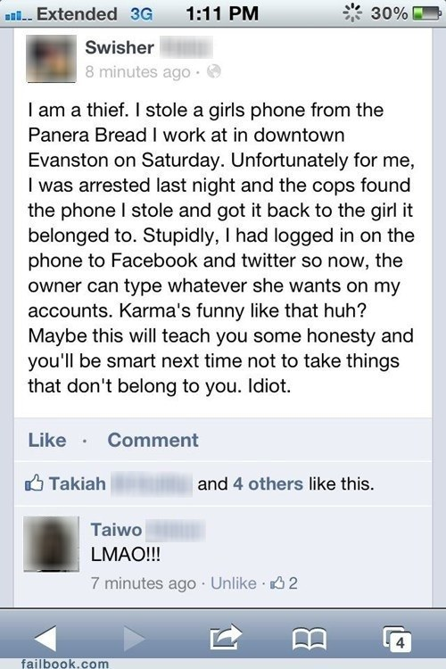 phone thief leaves their facebook and twitter account open on stolen phone after it is recovered, fail